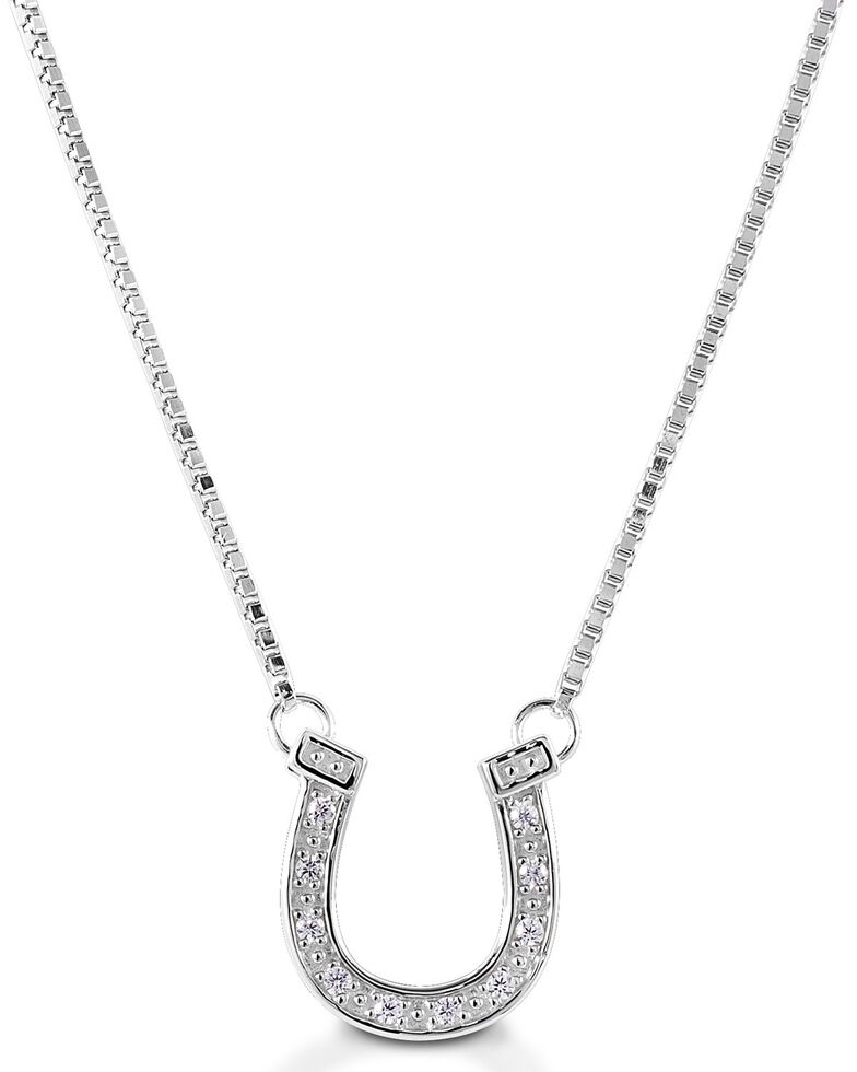 Kelly Herd Women's Pave Horseshoe Necklace , Silver, hi-res