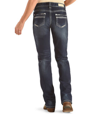 Rock & Roll Cowgirl Women's Feather Stitch Stretch Jeans, Dark Blue, hi-res