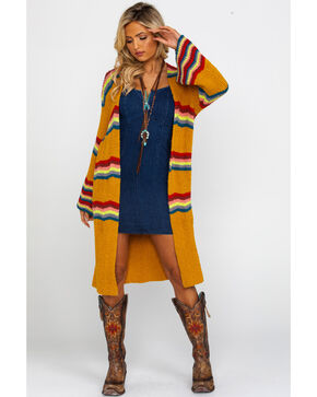 Free People Women's Winding Road Cardigan , Dark Yellow, hi-res
