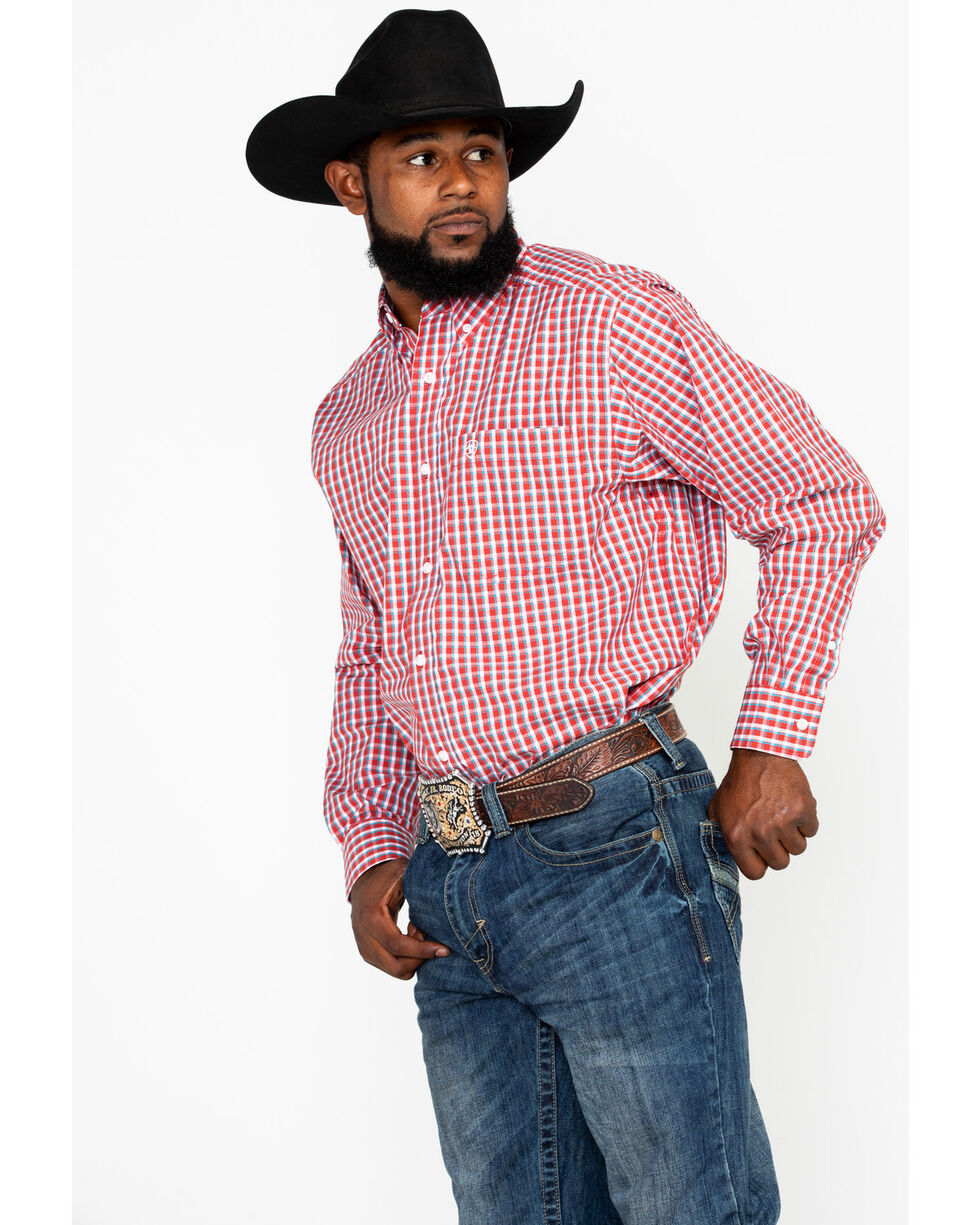 Ariat Men's Ballington Small Plaid Long Sleeve Western Shirt , Red, hi-res