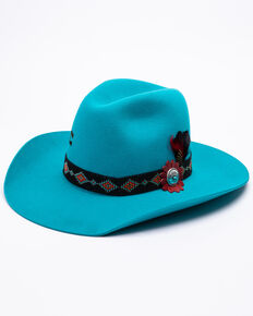 Charlie 1 Horse Women's Wild Tribe Wool Felt Hat , Turquoise, hi-res