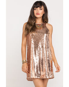 Very J Women's Rose Gold Sequin Tank Dress , Rose, hi-res