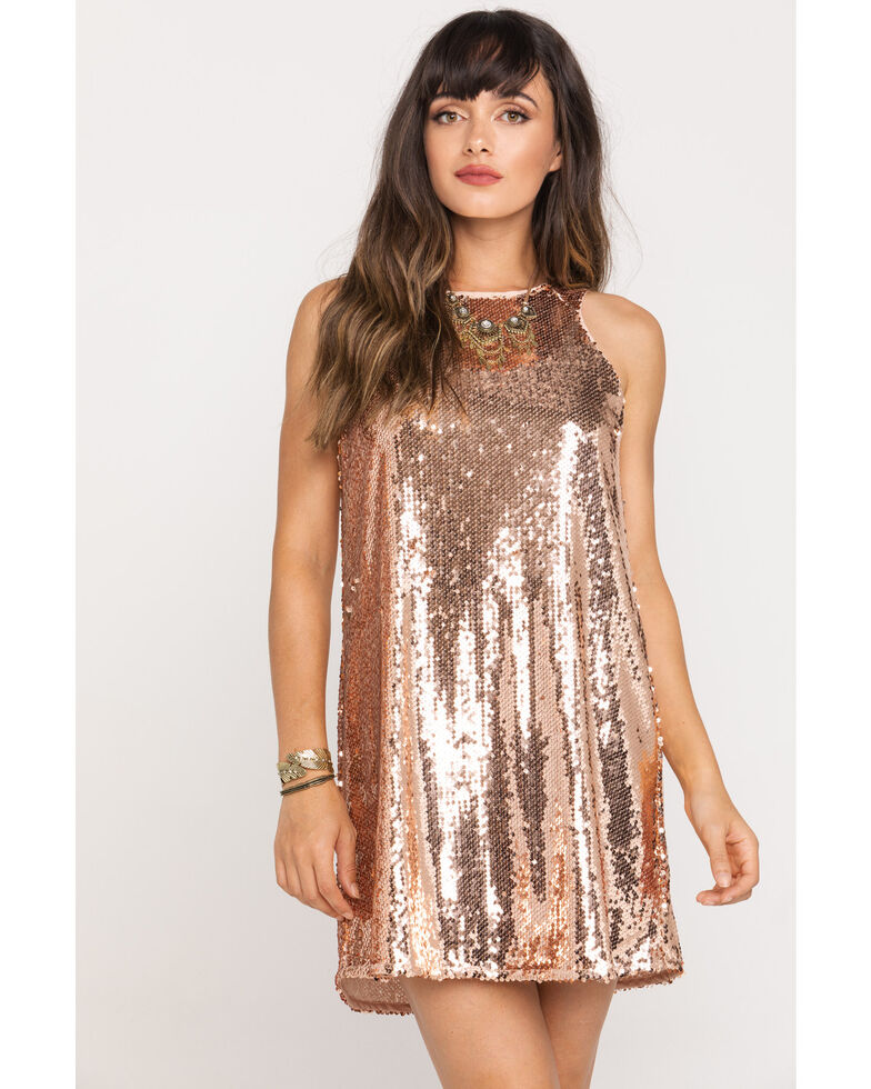 Very J Women's Rose Gold Sequin Tank Dress , Rose, hi-res