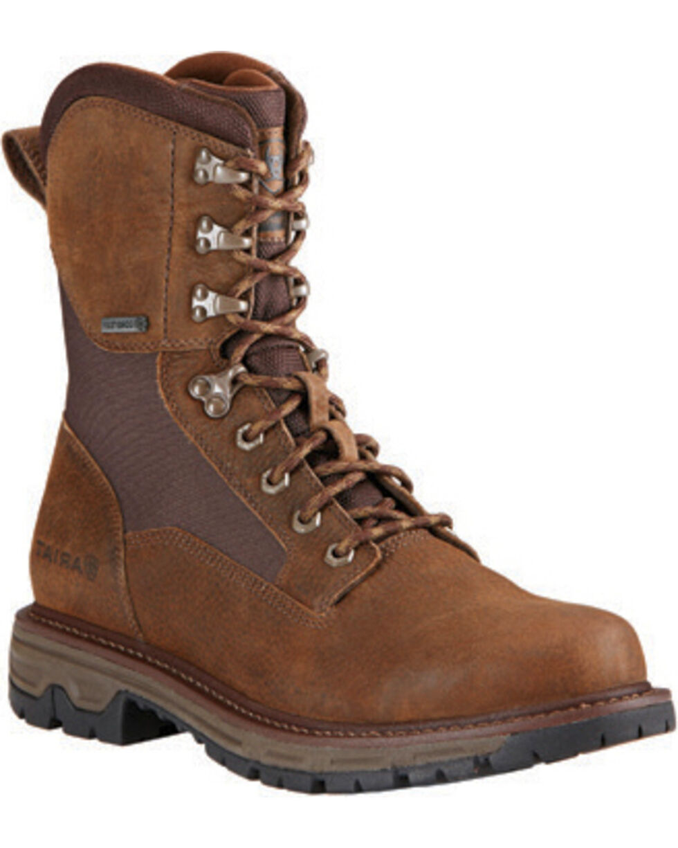 Ariat Men's Pebbled Conquest Waterproof Hunting Boots, Brown, hi-res