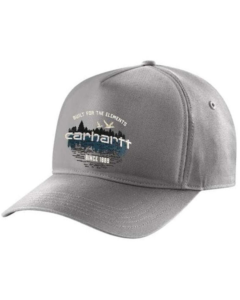 Carhartt Men's Canvas Outdoor Graphic Structured Trucker Cap , Charcoal, hi-res