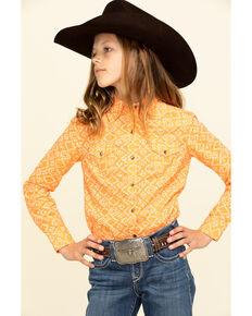 Cruel Girl Girls' Orange Aztec Print Long Sleeve Western Shirt, Orange, hi-res