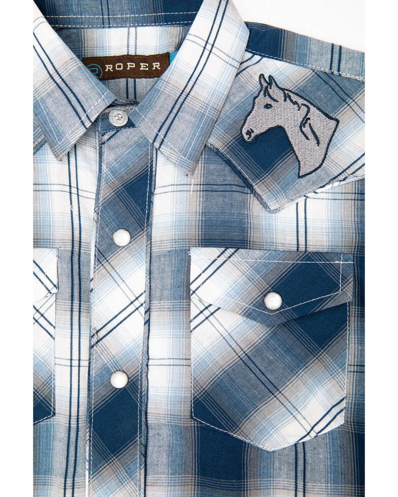 Roper Boys' Navy Plaid Embroidered Yoke Long Sleeve Western Shirt , Blue, hi-res