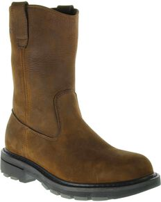 Wolverine Men's Steel Toe Wellington Work Boots, Brown, hi-res
