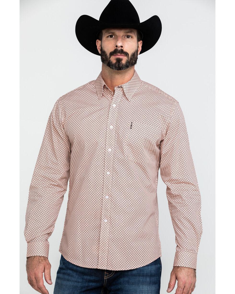 Cinch Men's Coral Modern Geo Print Long Sleeve Western Shirt , Coral, hi-res