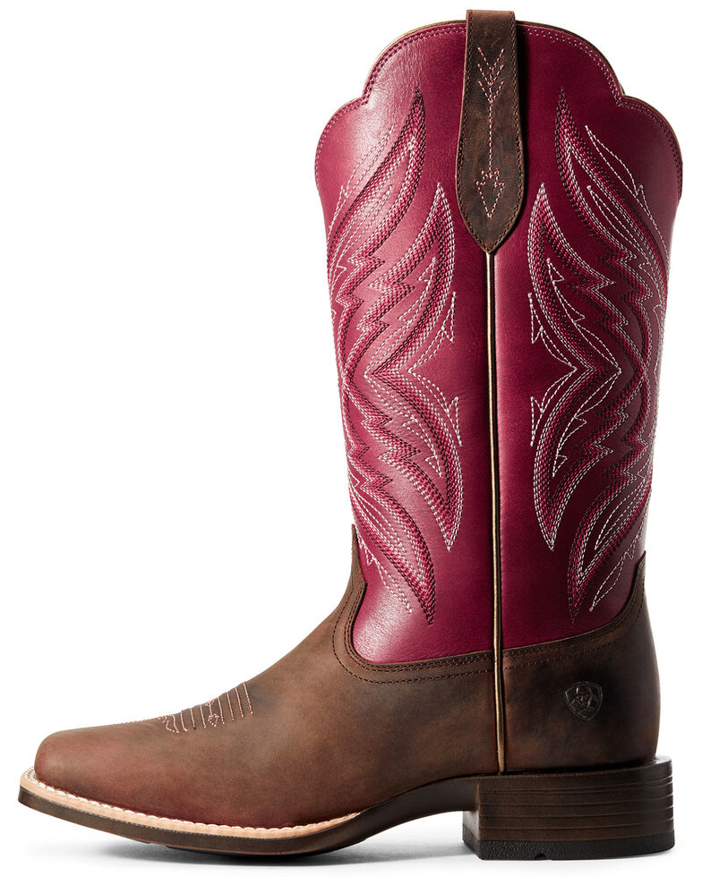 Ariat Women's Pinnacle Fuschia Western Boots - Wide Square Toe, Distressed Brown, hi-res