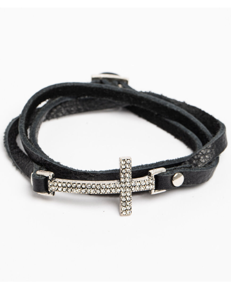 Shyanne Women's Crystal Cross Black Cross Wrap Bracelet , Silver, hi-res