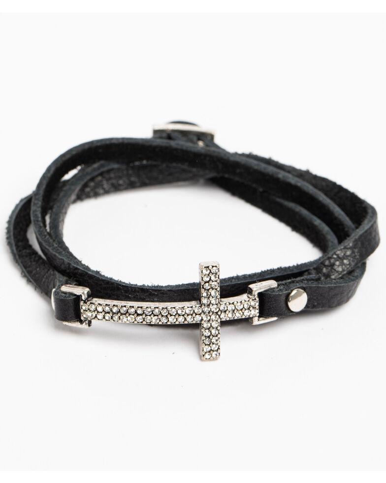Shyanne Women S Crystal Cross Black Wrap Bracelet Silver Hi Res