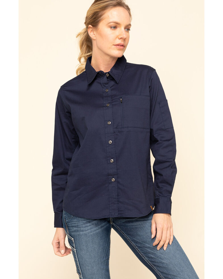 Wrangler Riggs Women's Navy Long Sleeve Work Shirt, Navy, hi-res