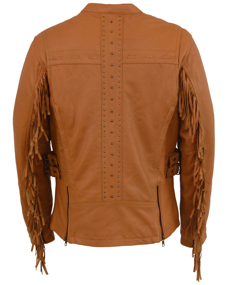 Milwaukee Leather Women's Lightweight Scuba Racer Leather Jacket With Fringe - 5X, Medium Brown, hi-res