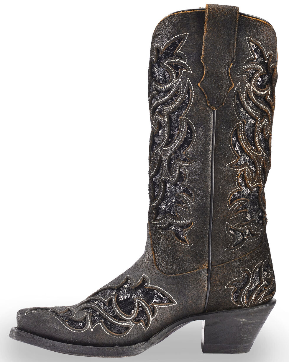 Corral Boots Women's Sequin Inlay Western Boots, Brown, hi-res