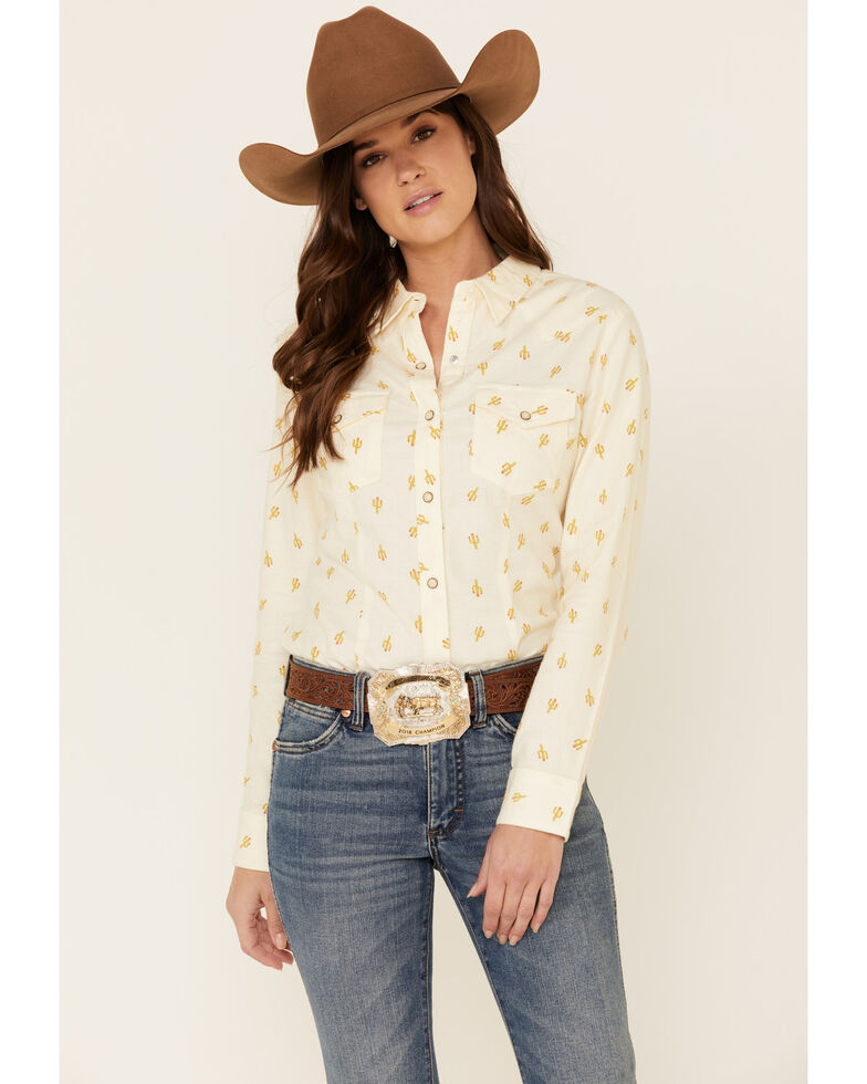Wrangler Women's Ivory All-Over Cactus Print Long Sleeve Western Core Shirt , Ivory, hi-res