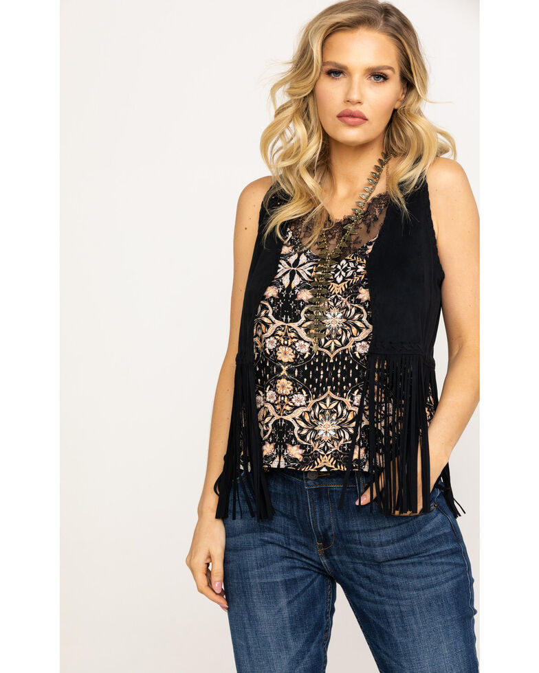 Idyllwind Women's New Strings Fringe Vest, Black, hi-res
