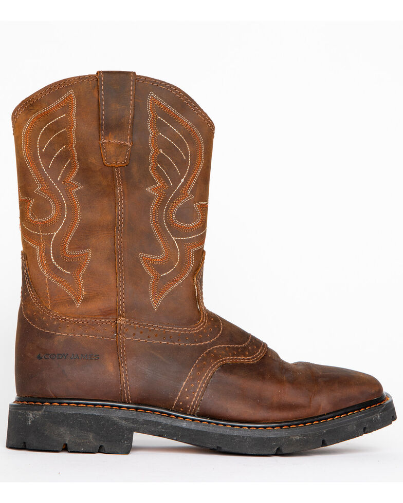 Cody James® Men's Broad Square Toe Western Work Boots, Brown, hi-res