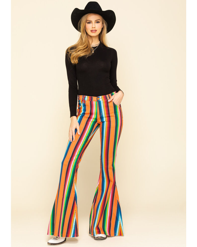 Ranch Dress'n Women's Serape Print Super Flare Jeans  , Multi, hi-res