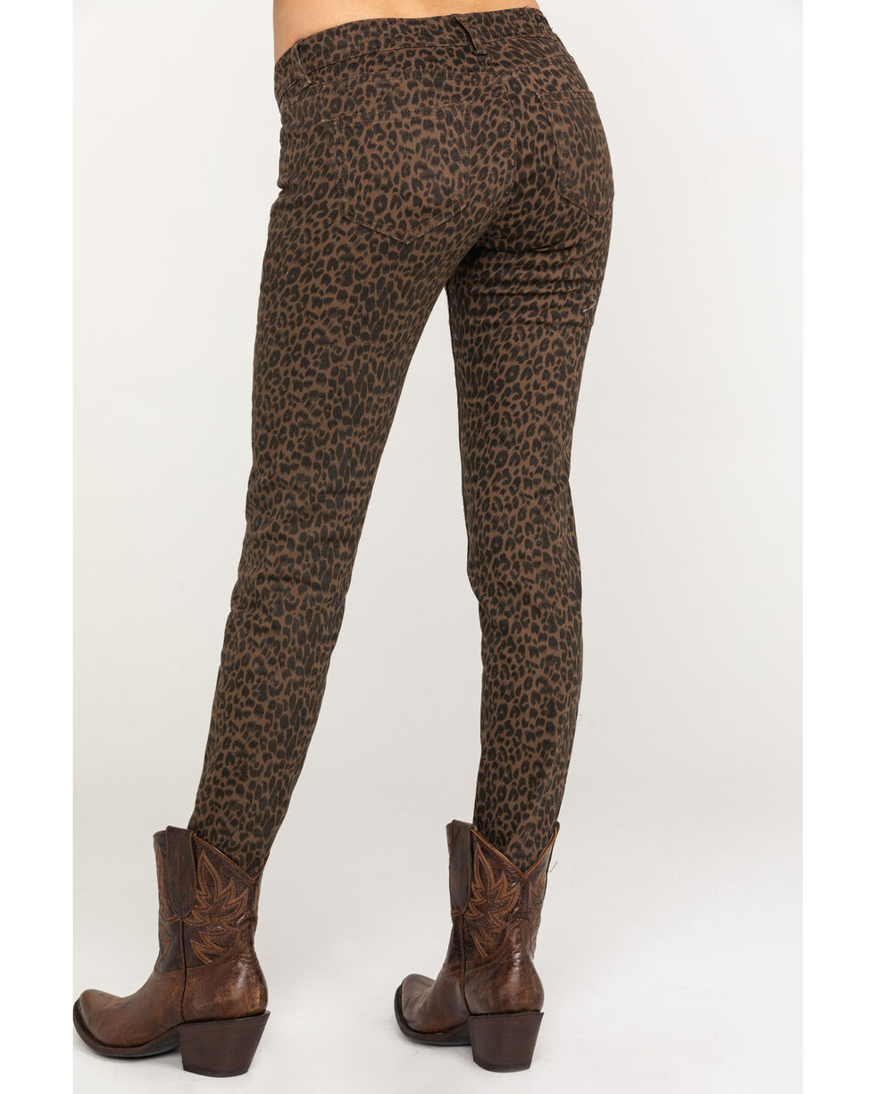 Grace in LA Women's Leopard Skinny Jeans, Tan, hi-res