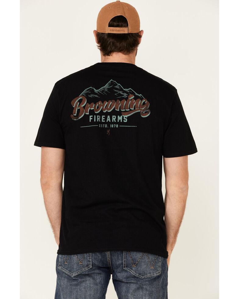 Browning Men's Black Mountainscape Buckmark Back Graphic Short Sleeve T-Shirt , Black, hi-res