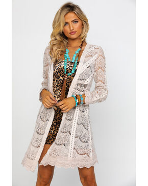 Vocal Women's Crochet Trim Long Sleeve Studded Duster Kimono, Natural, hi-res