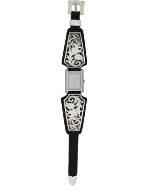 Montana Silversmiths Women's Leathercut Floral Scroll Dress Watch, Silver, hi-res