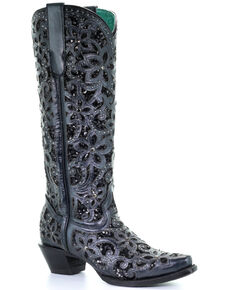 Corral Women's Floral Inlay Western Boots - Snip Toe, Black, hi-res