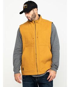 Hawx® Men's Khaki Canvas Sherpa Lined Work Vest , Brown, hi-res