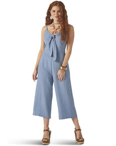Wrangler Women's Chambray Tie Front Wide Leg Jumpsuit, Blue, hi-res