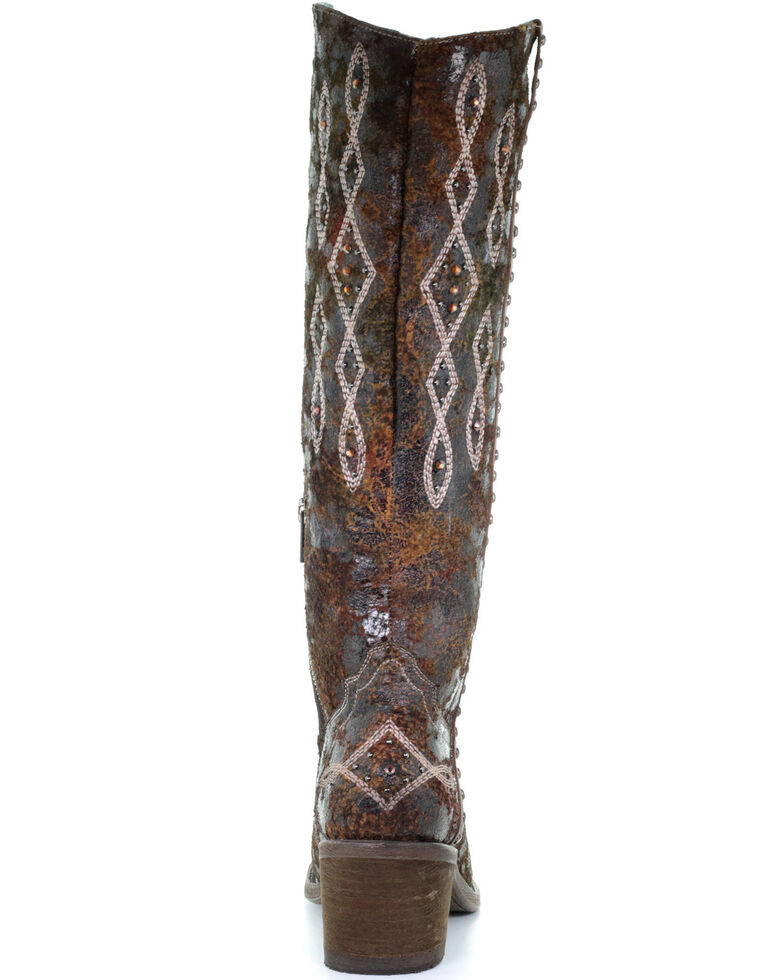 Corral Women's Olive Studded Embroidered Tall Top Leather Western Boots - Round Toe, Olive, hi-res