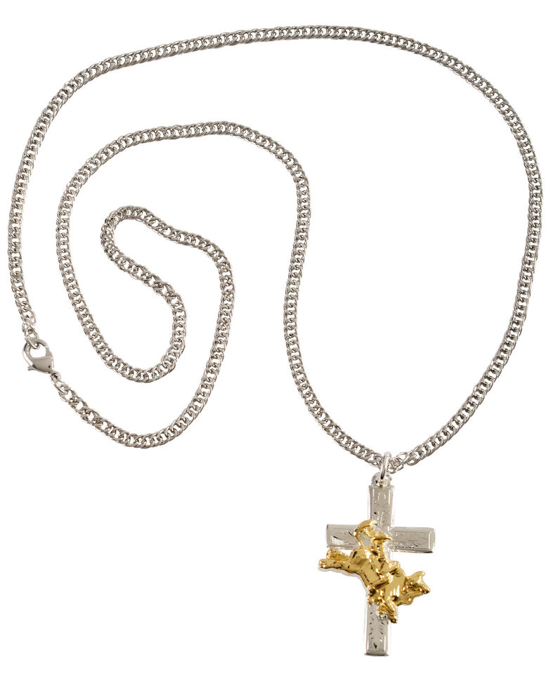 Montana Silversmiths Men's Bullrider Cross Necklace, Silver, hi-res