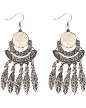 Shyanne® Women's Feather Chandelier Earrings, Silver, hi-res