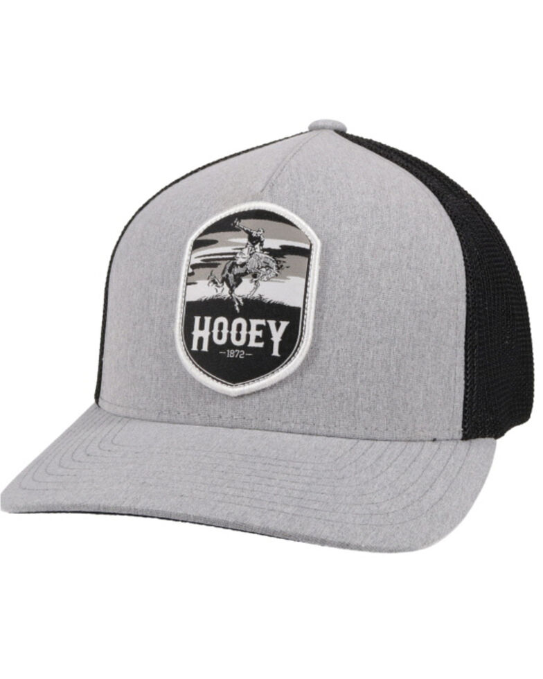 HOOey Boys' Grey Cheyenne Patch Flex Fit Mesh Ball Cap , Grey, hi-res