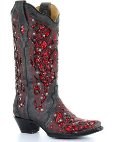 2877621ecd1d Corral Women's Crystal and Red Sequin Inlay Cowgirl Boots - Snip Toe