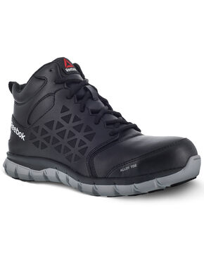 Reebok Men's Sublite Black Work Boots - Alloy Toe, Black, hi-res