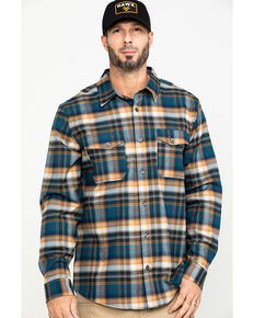 Hawx® Men's Light Blue Fashion Stretch Plaid Flannel Long Sleeve Work Shirt , Blue, hi-res