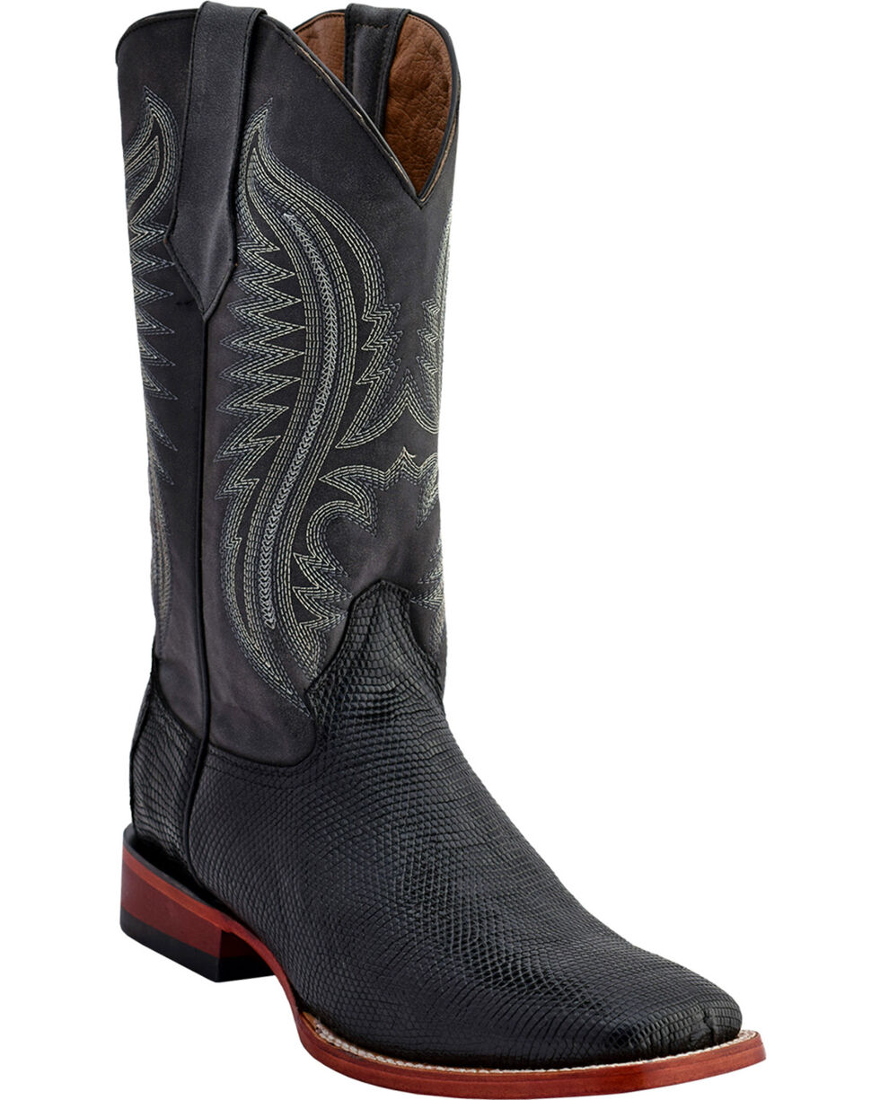 Ferrini Men's Lizard Belly Boots - Square Toe , Black, hi-res