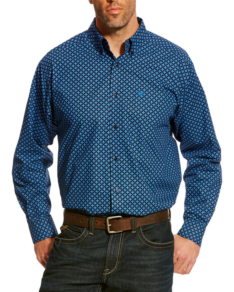 Ariat Men's Navy Albera Print Shirt , Navy, hi-res