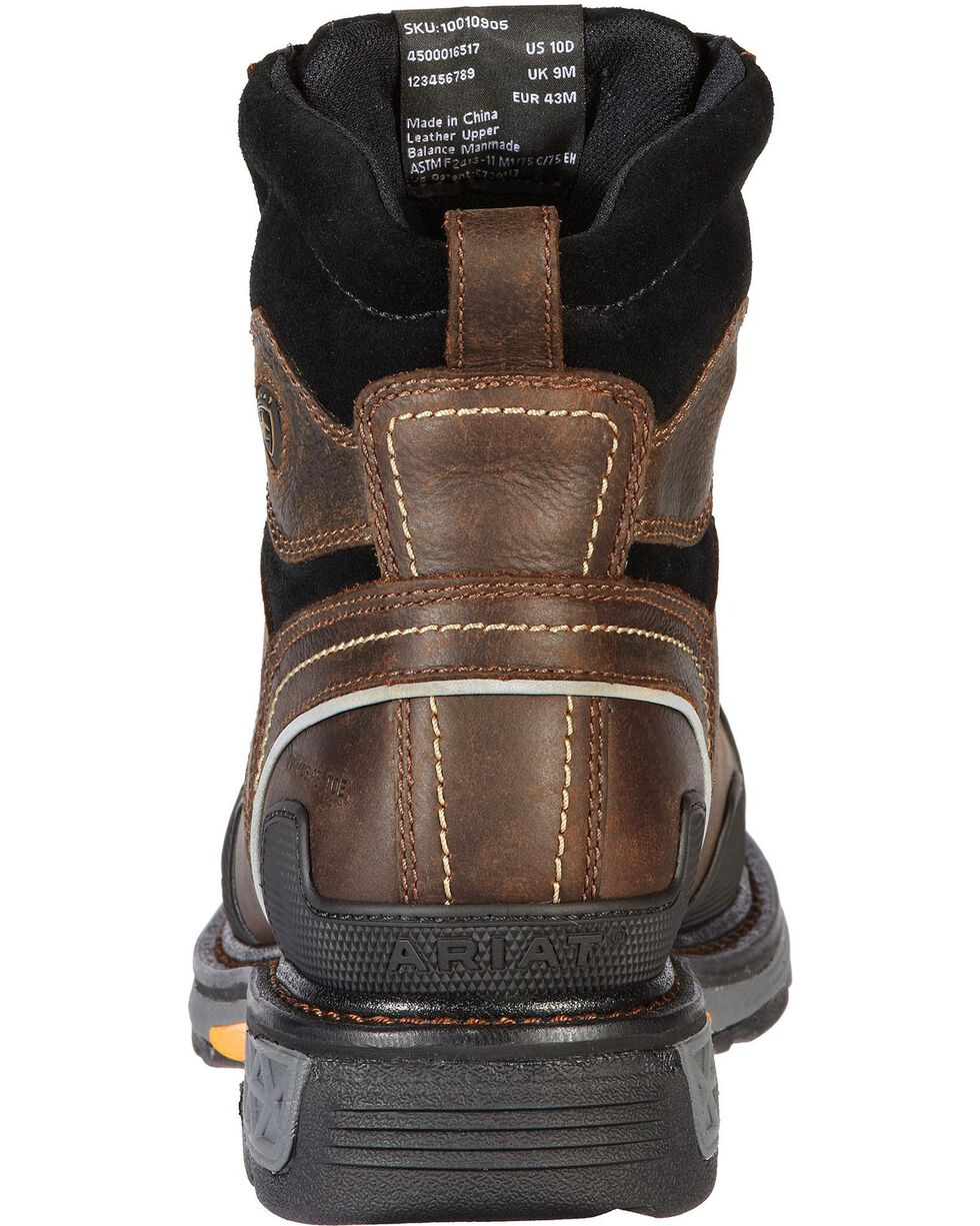 "Ariat Men's Overdrive 6"" Composition Toe Western Work Boots, Dark Brown, hi-res"