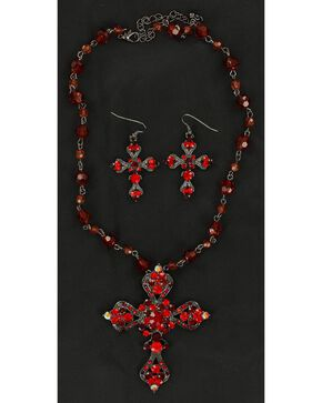 Blazin Roxx Rhinestone Embellished Cross Necklace & Earrings Set, Red, hi-res