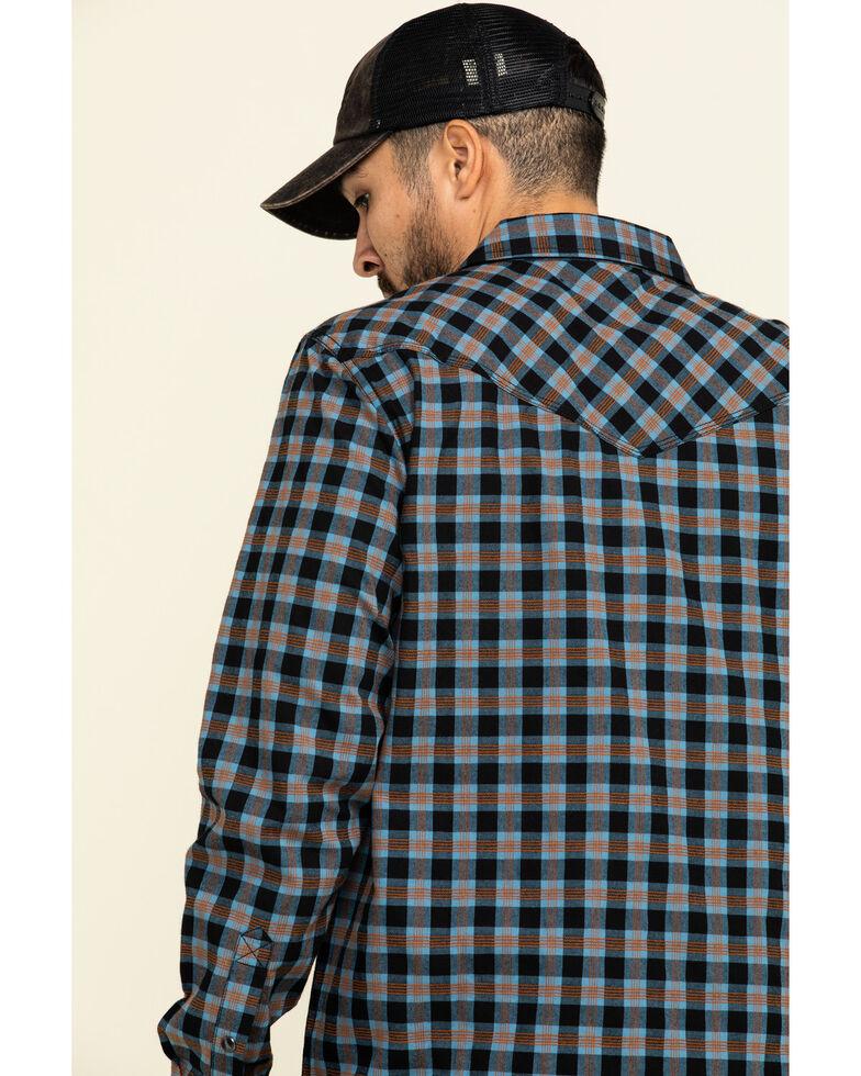 Moonshine Spirit Men's Train Track Check Plaid Long Sleeve Western Shirt , Black, hi-res