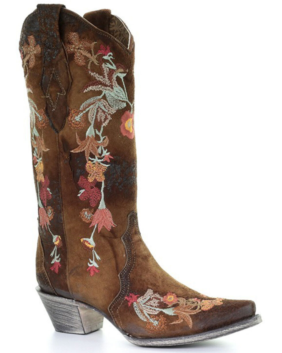 Corral Women's White Floral Embroidered Western Boots - Snip Toe, Chocolate, hi-res
