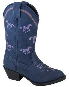 Smoky Mountain Girls' Rustler Western Boots - Round Toe, Navy, hi-res