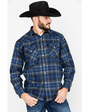 Pendleton Men's Blue Canyon Plaid Long Sleeve Western Flannel Shirt , Blue, hi-res
