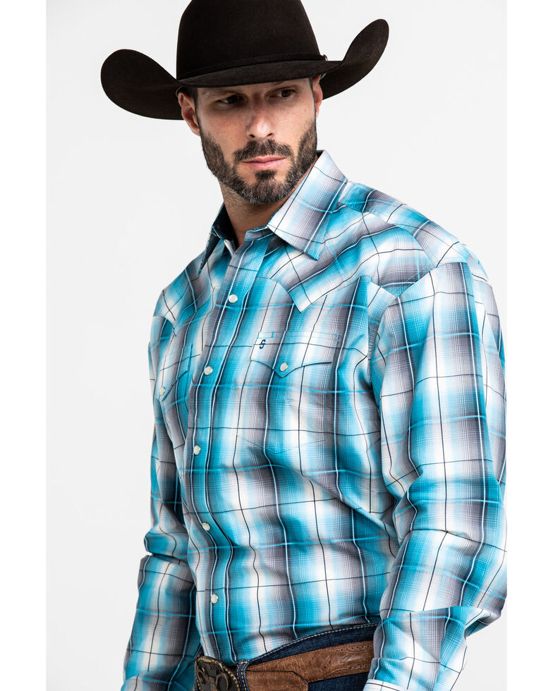 Stetson Men's Storm Cloud Ombre Plaid Long Sleeve Western Shirt , Blue, hi-res
