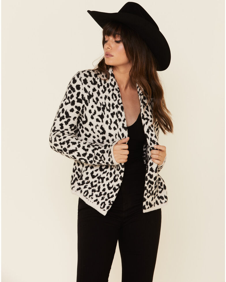 Shyanne Women's Leopard Print Fringe Cardigan Sweater , Cream/black, hi-res