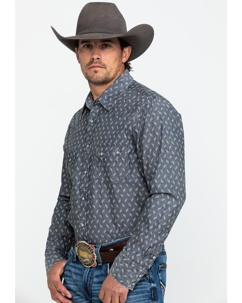 Rock & Roll Cowboy Men's Chambray Print Long Sleeve Western Shirt , Charcoal, hi-res