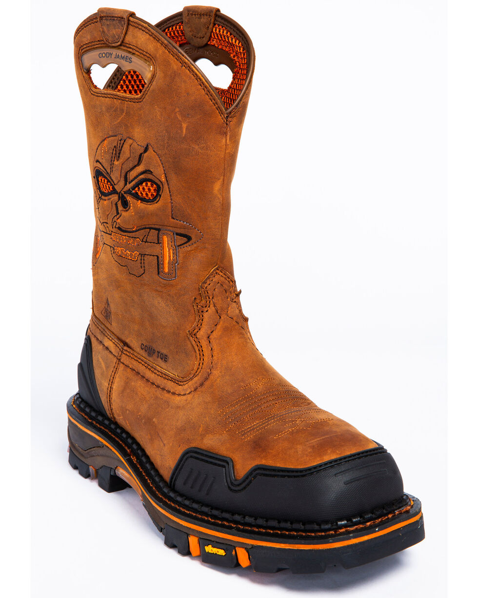 Mens Rocky Cody Waterproof Wedge Sole Western Round Toe Boot
