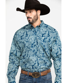 Cinch Men's Navy Paisley Plain Weave Long Sleeve Western Shirt , Navy, hi-res
